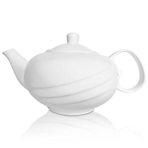 White Ceramic Teapot For Loose Leaf Tea 28 fl oz