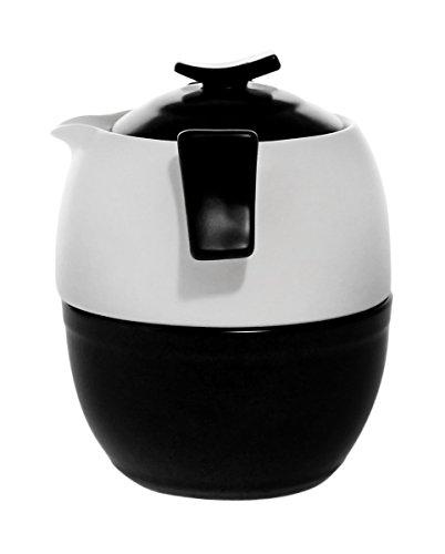 JustNile Tea-For-Three Stackable Zen Porcelain Teapot with 3 Cups Set - White Teapot Set