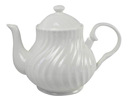 Roy Kirkham Classic White 4 Cup Teapot Swirl Fine Bone China England