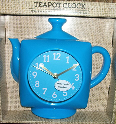 Cute Blue Teapot Kettle Clock Wall Clock or Can Sit On a Table Battery Operated Metal Hands Glass Lens