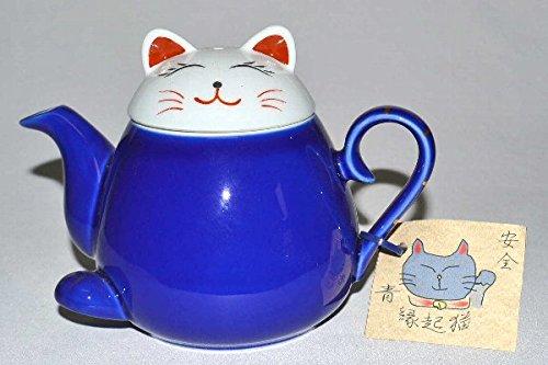 Takayama Pottery Blue Beckoning cat Teapot HasamiYaki 340ml from Japan