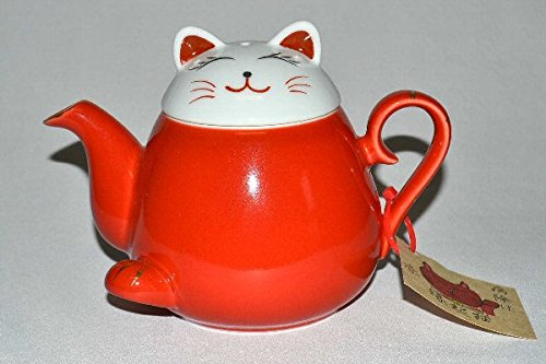 Takayama Pottery Red Beckoning cat Teapot HasamiYaki 340ml from Japan