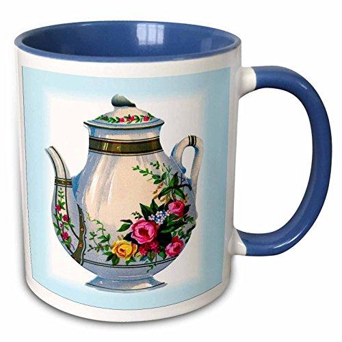 3dRose Florene Vintage - Victorian Floral Teapot - 11oz Two-Tone Blue Mug mug_43813_6