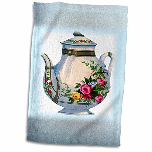 3dRose Florene Vintage - Victorian Floral Teapot - 12x18 Towel twl_43813_1