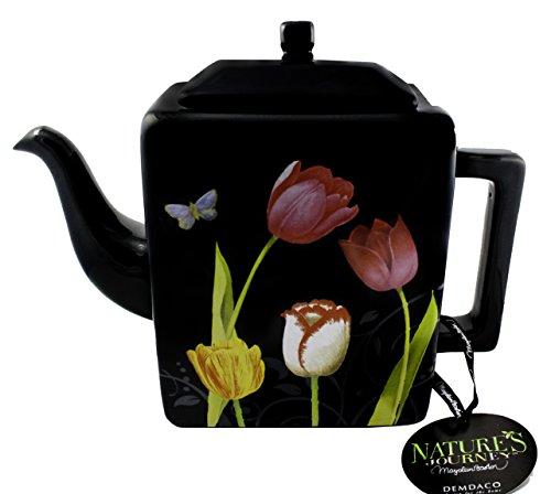 Natures Journey Black Floral Teapot by Marjolein Bastin