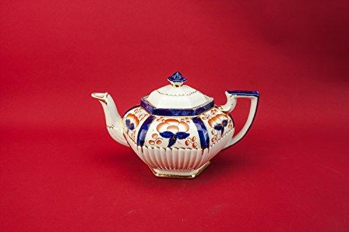 Vintage Traditional Floral TEAPOT Pottery Unique Hexagonal Blue Medium Service Gift English 1920s LS