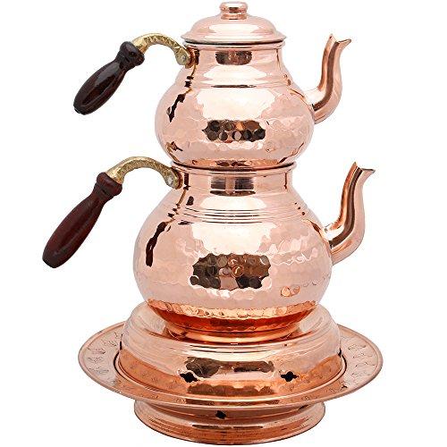 Set of 2 Copper Teapots with Lids and Wood Handle Teapot Warmer Copper Heater Copper Teapots Hammered Copper Tea Pot Turkish Tea Copper Pot Samovar