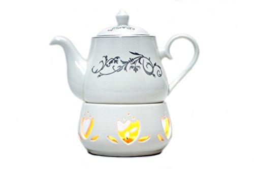 White Stoneware Teapot with an Elegant Design and Porcelain Teapot Warmer