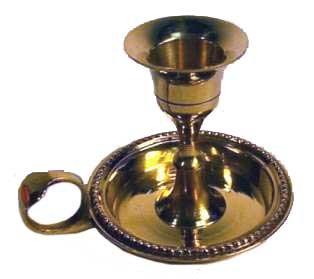 AzureGreen Brass Chamberstick Tapered Candle Holder