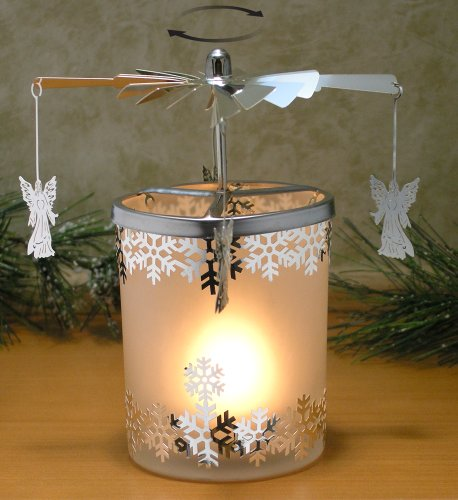 Spinning Candle - Frosted Glass Spinning Candle Holder - Angels and Snowflakes - Silver Metal with Laser Cut Design - Scandinavian Style Carousel Candle