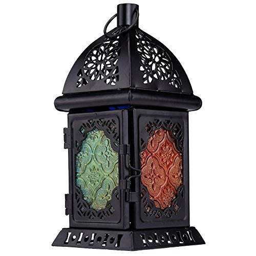 Molie Moroccan Style Retro Style Decorative Square Iron Candle Holder Candlestick with Stained Glass Multicolored Glass for House Party Wedding