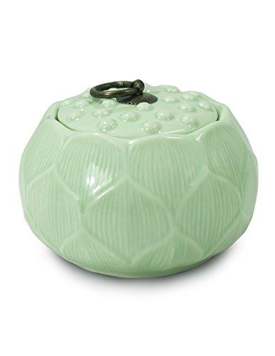 Dahlia Lotus Shaped Glazed Celadon Handcrafted Porcelain Tea Storage Tea Caddy Tea Canister