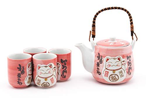 Hinomaru Collection Japanese Maneki Neko Lucky Cat Kitten Design Tea Set Ceramic Teapot with Strainer Rattan Handle and 4 Tea Cups