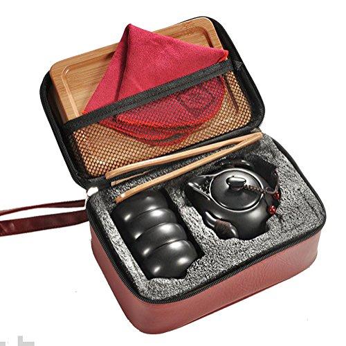 Hoobar Ceramic Kungfu Tea Set Chinese Style Handmade Teapot and Teacups with Portable Travel Bag and Tea Tray Black