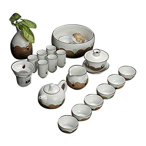 Bh Ceramic Tea Pot Tea Cup Elegant Kung Fu Tea Set with Vase