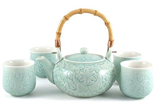 Celadon Green Ceramic Tea Set Tea Pot with Four Cups