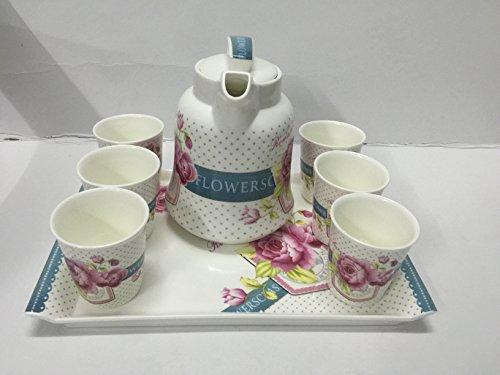 China Ceramic Tea-potGlass Gaiwan Kung Fu Tea Set 8 pieces of ceramic tea set dish dish powder rose