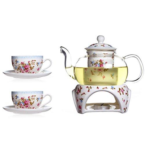 Heat-resistant Rose Ceramic Tea Set 118 oz Glass Filtering Tea Maker Teapot with a Warmer  2 Flower Porcelain Teacups85 ozSaucers and Tray