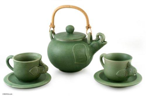 NOVICA Good Luck Ceramic Tea Set Green Elephant Clan Set for 2