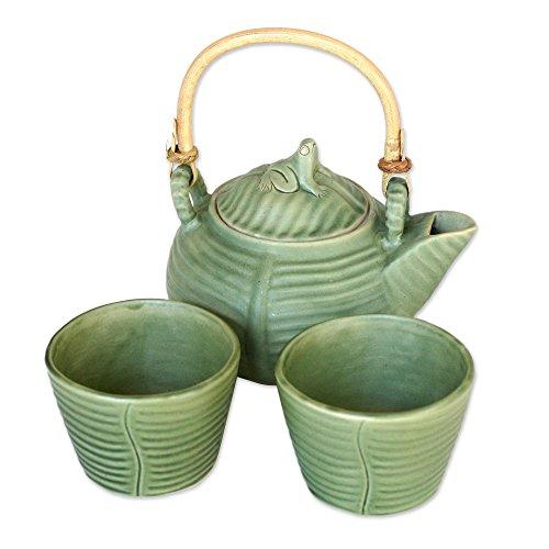 NOVICA Leaf And Tree Ceramic Tea Set Green Banana Frog Set for 2