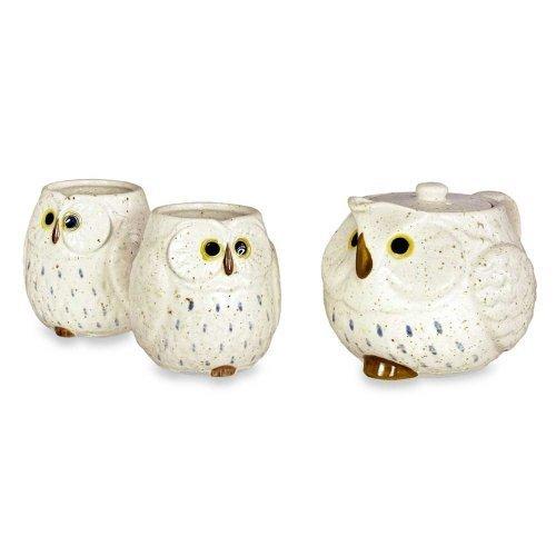 Owl Ceramic Tea Set Snow by Kotobuki