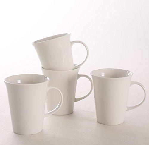 SOLECASA 10-OZSet of 4 Ceramic Coffee Mug SetPorcelain Tea Mug SetPure WhiteGreat as Holiday GiftGreat as Holiday GiftPresent