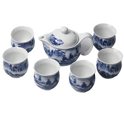Signstek 7PCS Blue and White Porcelain Ceramic Tea Set Tea Service