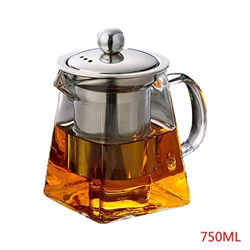 GreensTion-S Heat-Resistant Glass Stainless Steel Filter Teapot Square Flower Teapot High Temperature Glass Tea Set