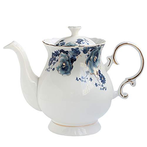 Jomop European Style Ceramic Flower Teapot Coffee Pot Water Pot Porcelain Gift Petal Large 55 Cups 1 Blue and White