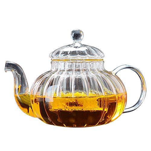 YPYJ 600Ml Striped Pumpkin Shape Flower Teapot Heat Resistant Glass Pot Flower Teacup Glass Teapot with Infuser Tea Leaf Herbal