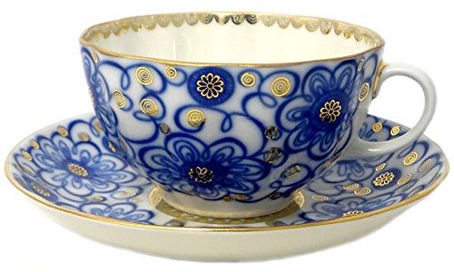 Lomonosov Porcelain Tea Set 2 Pc Cup and Saucer Bindweed Morning Glory 845 oz250 ml