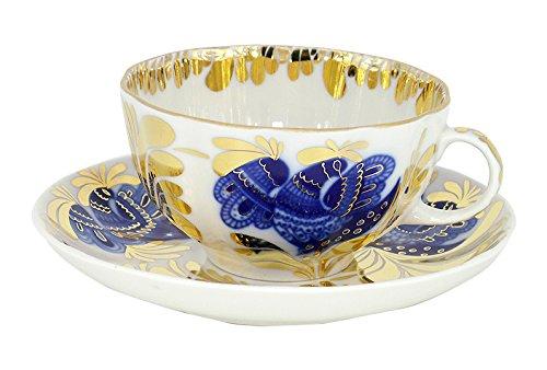Lomonosov Porcelain Tea Set Cup and Saucer Golden Garden 2 pc