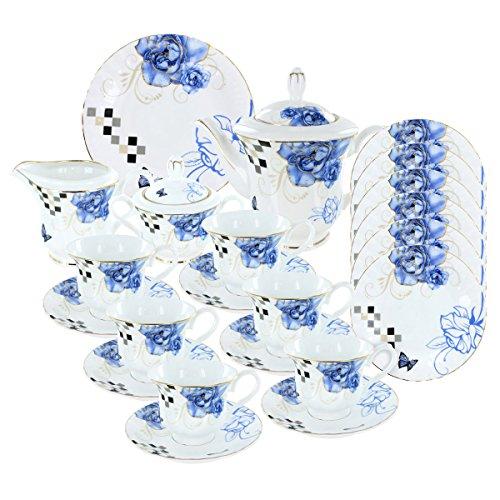 Sapphire Roses Deluxe Porcelain Tea Set