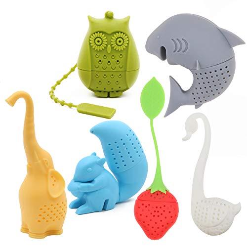 Creative Cute Animal Eco-friendly Silicone Tea Infuser Strainer Set of 6 PCS Elephant Shark Swan Squirrel Strawberry Owl Tea Steeper Tea Lovers Gift