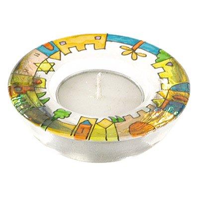 Shabbat Candlesticks Holders - Jewish Set - Yair Emanuel GLASS CANDLE HOLDER - JERUSALEM VISTA Bundle