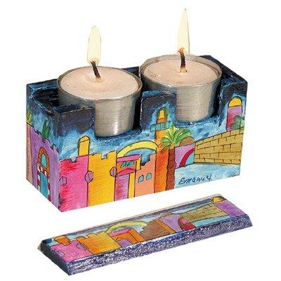 Shabbat Candlesticks Holders - Jewish Set - Yair Emanuel TRAVEL SHABBAT CANDLESTICK CASE JERUSALEM Bundle