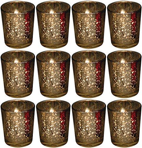 Biedermann Rustic Glass Votive Holder Gold Set of 12