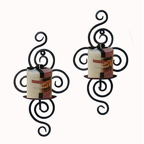 Decor Hut Iron Candle Holder Set of 2 Wall Sconces Swirl Design