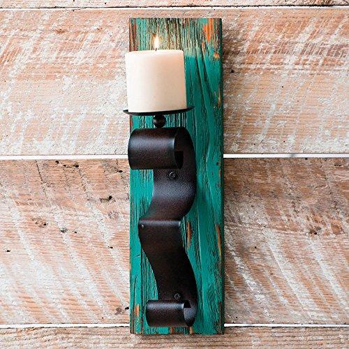 Turquoise Wood Wall Southwestern Candle Holder - Southwestern Decor