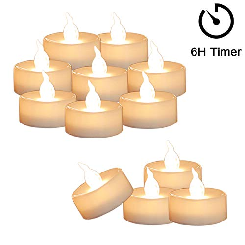 Cozeyat 12pcs Tea Lights Led Flickering with Timer 6 Hours on 18 Hours Off Mini Flameless Candles TeaLights Battery Operated Warm White for Wedding Reception Christmas Party Home Decorations