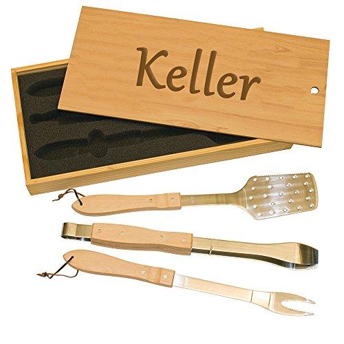 Custom BBQ Tool Set  Gift for Dad  Engraved BBQ Utensil Set