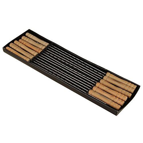 IMEEA 15 inch Stainless Steel Barbecue Skewers with Wooden Handles  BBQ Skewers Shish Kebab Kabob Skewers Set of 12