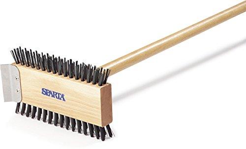 Carlisle 4002600 Broiler Master Grill Brush Carbon Steel Bristles 305 Length Hardwood Brush and Handle Natural
