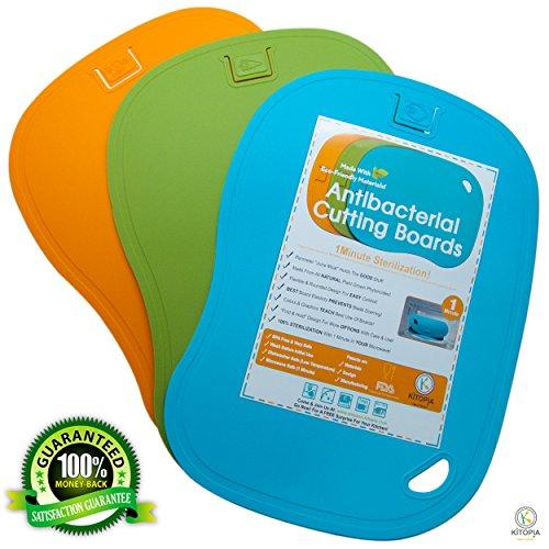 Antibacterial Cutting Board Set. Kitopia's Large Chopping Board Mat 100% Sterilization From Bacteria