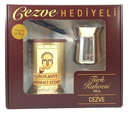 Mehmet Efendi Turkish Coffee 88oz w Stainless Steel Coffee Pot