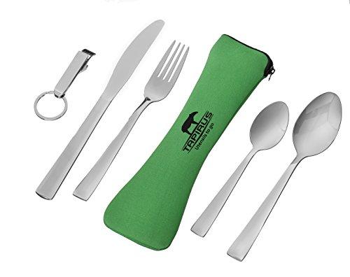 Tapirus Utensils To Go 5-in-1 Stainless Steel Camping Utensil Set (fork, Knife, Spoon, Teaspoon, Bottle Opener