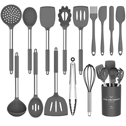 Umite Chef Kitchen Utensils Set 15 pcs Silicone Cooking Kitchen Utensils Set Heat Resistant Non-stick BPA-Free Silicone Stainless Steel Handle Turner Spatula Spoon Tongs Whisk Cookware Grey