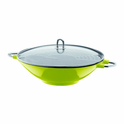 Bodum Chambord Enameled Cast Iron Wok With Glass Lid Lime Green