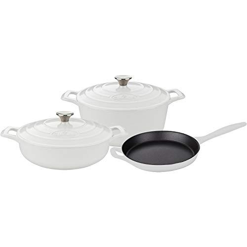 La Cuisine LC 2680 5-Piece Enameled Cast Iron Cookware Set in White Round Casserole