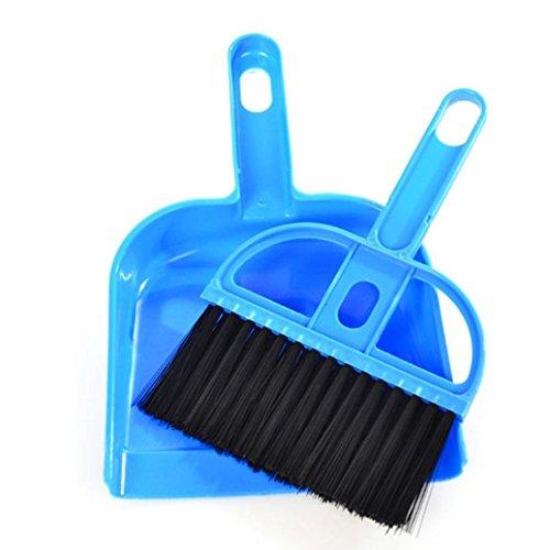 Gotd Mini Desktop Sweep Cleaning Brush Small Broom Dustpan Set Blue